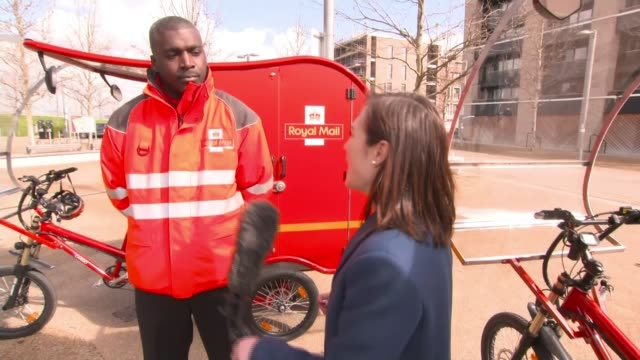 Royal Mail trialling new fleet of Etrikes ENGLAND London Stratford EXT Jude Stirling interview with reporter SOT Mark Street interview with reporter...