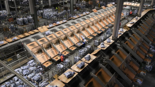 royal mail's worldwide distribution centre on december 8, 2016 in slough, england. the festive season sees a huge spike in postal items coming... - berkshire england stock videos & royalty-free footage