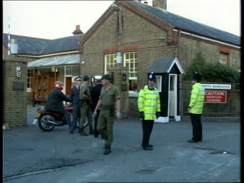 security royal marines barracks bomb blast security england kent deal north barracks entrance cms 2 private security guards pull out armed marine on... - north stock videos & royalty-free footage