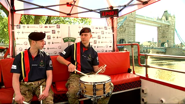 royal marines break drum roll world record at tower of london; england: london: tower of london: ext royal marine drumming sot hands holding drum... - royal marines stock videos & royalty-free footage