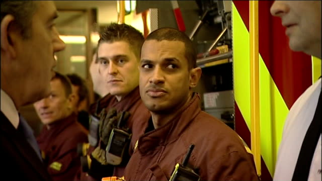 aftermath brown visits firefighters england london ext firefighters who were involved in fighting the fire at the royal marsden hospital lined up... - alan johnson stock videos & royalty-free footage
