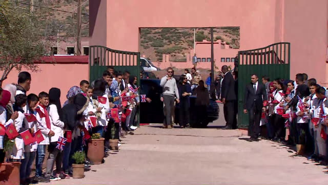 Duke and Duchess of Sussex arrive at Education for all Boarding House in Rabat