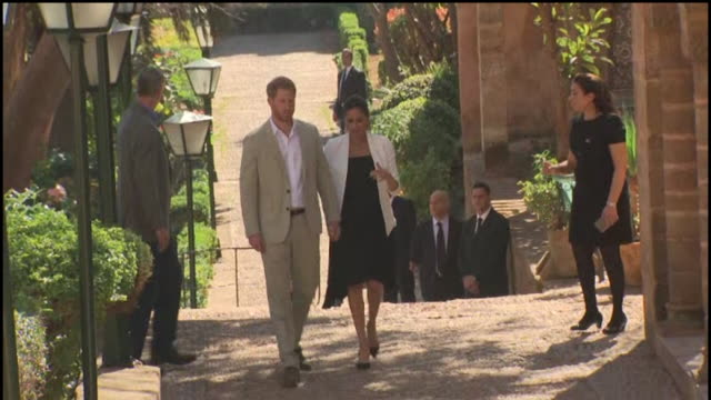 duke and duchess of sussex hold hands as they leave andulasian gardens in rabat - meghan duchess of sussex stock videos and b-roll footage