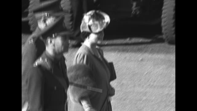 royal motorcade arrives / queen elizabeth and king george vi decar adjust wardrobes / ms king and queen walk / troops line up some kind of scottish... - regiment stock videos and b-roll footage
