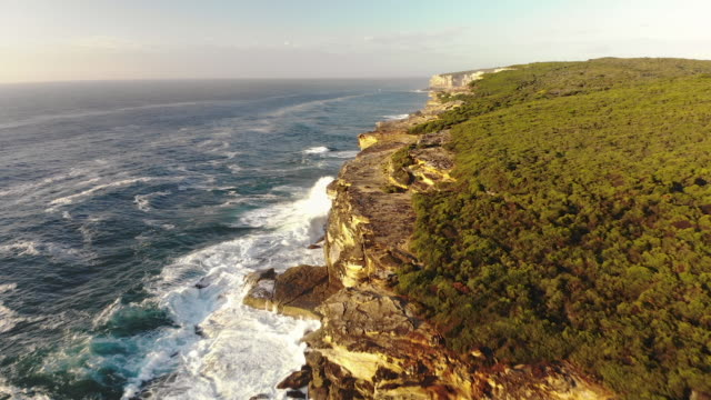 vidéos et rushes de royal national park coastal flyover - cliff