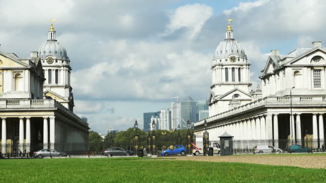 royal naval college in greewich and london canary wharf - royal navy college greenwich stock videos & royalty-free footage