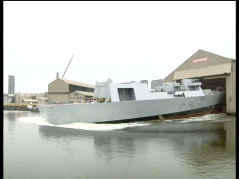 Royal Navy destroyer HMS Daring launched into River Clyde Glasgow; 01 Feb 06
