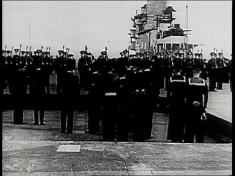 royal navy members standing on platform as it rises to level of ship deck / king george vi inspecting line of sailors - quality control stock videos & royalty-free footage