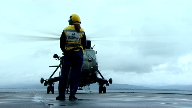 royal navy military exercise 'exercise corsican lion' philip hammond arrival and interview france mediterranean ext helicopter taking off from hms... - british military stock videos & royalty-free footage