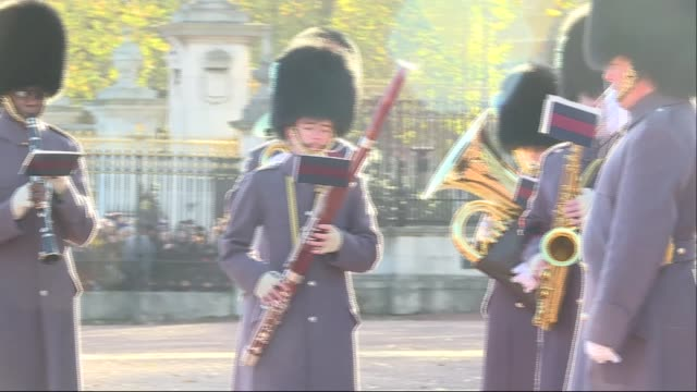 Royal Navy sailors take part in their first Changing the Guard ceremony ENGLAND London Buckingham Palace EXT **Music heard intermittently SOT**...