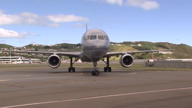 Royal New Zealand Air Force Boeing 757 aeroplane carrying Prince Harry and Meghan Duke and Duchess of Sussex taxiing at Wellington Airport on arrival...