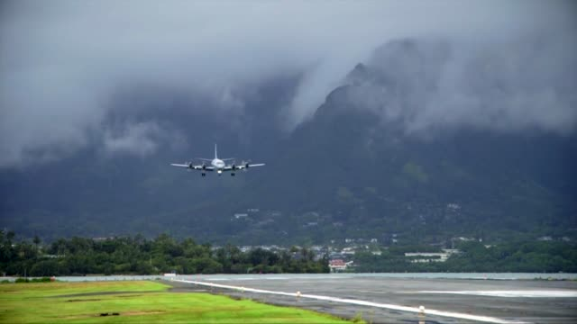 royal new zealand air force p-3k2 arrives at the airfield aboard mcbh during rim of the pacific exercise 2014. the plane joins the multitude of other... - new zealand stock-videos und b-roll-filmmaterial