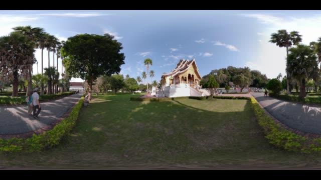 360 vr / royal palace (ho kham) in luang prabang - museum stock videos & royalty-free footage