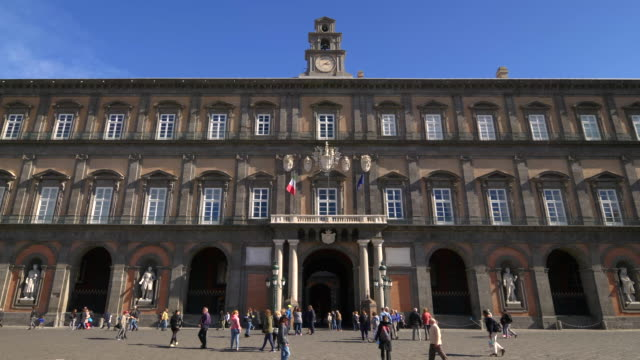 royal palace of naples in piazza del plebiscito in naples, italy - palace video stock e b–roll