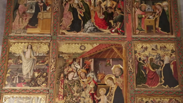 royal palece (palau reial major), chapel of santa agata, with the altarpiece of the epiphany by jaume huguet, barcelona, spain - christianity stock videos & royalty-free footage