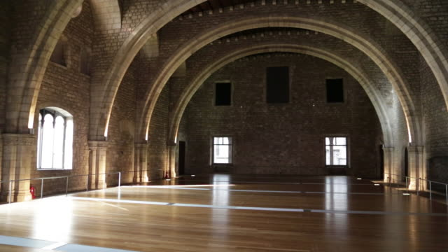 royal palece (palau reial major), the royal banqueting hall (salo del tinell), barcelona, spain - 宮殿点の映像素材/bロール