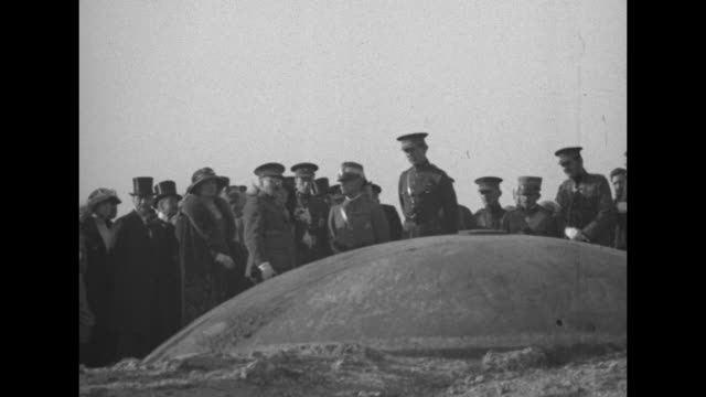 Royal party enters Fort / royal party looks at turret atop Fort / royal party leaving Fort / King Victor Emmanuel III of Italy on left and King...