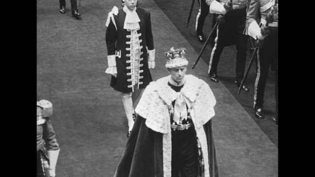 royal procession begins to depart westminster abbey after elizabeth ii's coronation / clergy and other members of procession / prince philip duke of... - 1953 stock videos & royalty-free footage