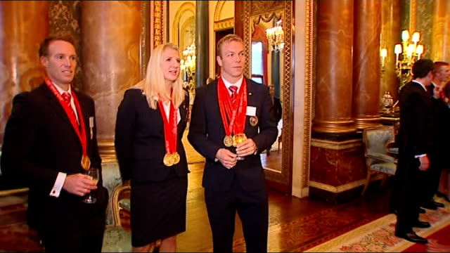 royal reception for olympic medallists olympic gold medallists rebecca adlington and chris hoy chatting at reception/ adlington and hoy as introduced... - hoy stock videos & royalty-free footage