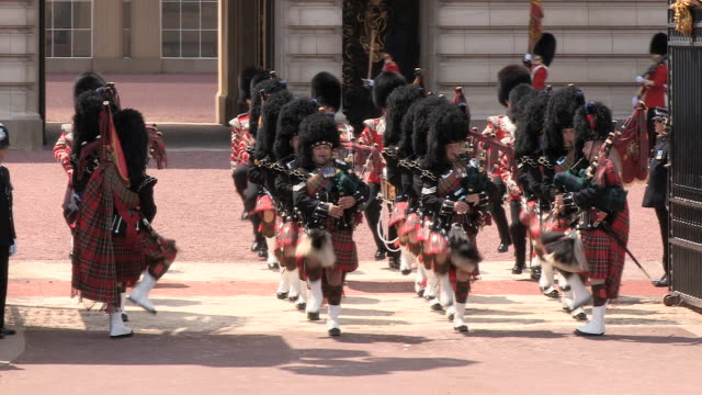 ms zo ts royal scottish pipers at buckingham palace /  london, united kingdom - military parade stock videos and b-roll footage