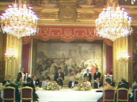 the prince & princess of wales in france; france: paris: orly: airport: ext prince charles, prince of wales and diana, princess of wales along from... - hotel stock videos & royalty-free footage