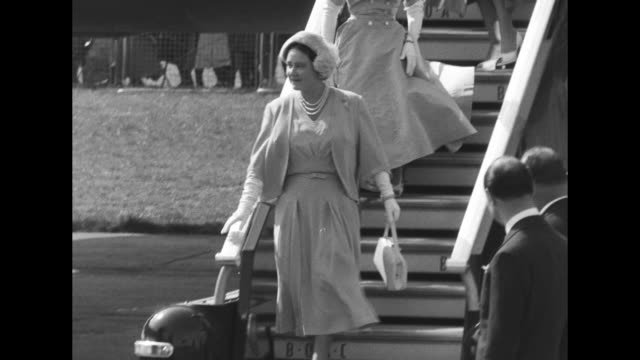 cu royal standard of the united kingdom flying / queen mother elizabeth and princess margaret depart a british overseas airways corporation de... - princess margaret 1950 stock videos and b-roll footage