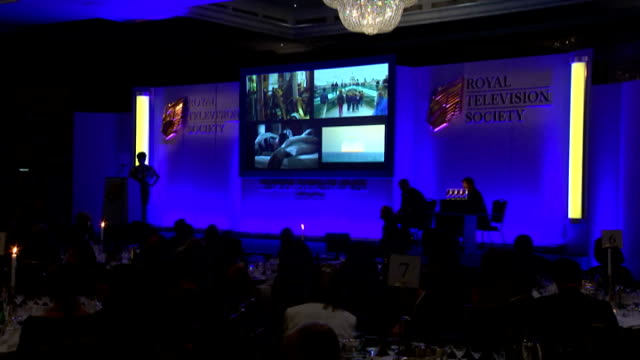 royal television society awards 2015; video shown / 'scoop of the year' award - spotlight - a woman alone with the ira - bbc northern ireland / itv... - チーム写真点の映像素材/bロール