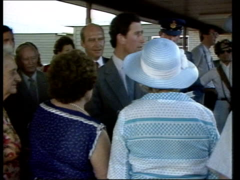 vídeos de stock e filmes b-roll de royal tour australia special / week 4 royal tour australia special / week 4 title prince charles and princess diana on various modes of transport... - 1983