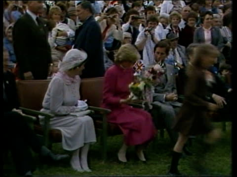 day 15 canada prince edward island shanty north tms crowds waiting lms prince and princess of wales and dignitaries take seats ms island fiddlers... - principessa video stock e b–roll