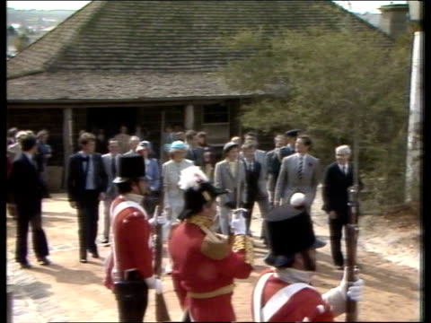 Day 27 AUSTRALIA Victoria AIR V Royal train along MS Train past LR in station ZOOM Prince Charles and Princess of Wales waving in back MS Horsemen...