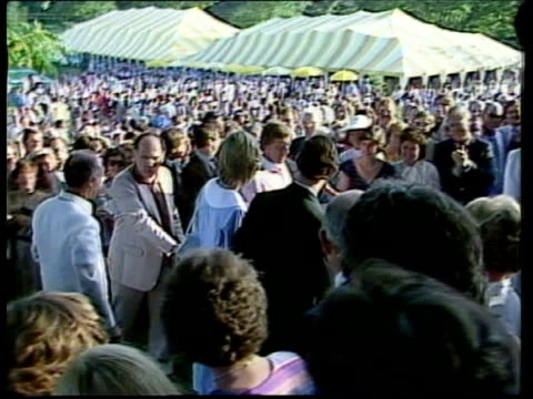 day 9; canada: ottawa nao tms people outside at garden party prince charles and the princess of wales with canadian prime minister pierre trudeau... - canada stock videos & royalty-free footage