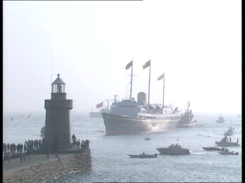 'The Queen in the Channel Islands' Royal Tour of the Channel Islands 'The Queen in the Channel Islands' AIRV Royal Yacht Britannia surrounded by...