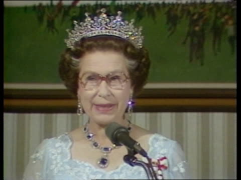 the queen in canada:; tx:24.9.84 canada: shediac: willmont pk: ext queen elizabeth ii and prince philip, duke of edinburgh on walkabout holding... - canada stock videos & royalty-free footage