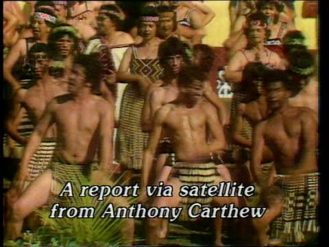 royal tour special: week 5; titles: maori dancers: rubbing noses: - māori people stock videos & royalty-free footage