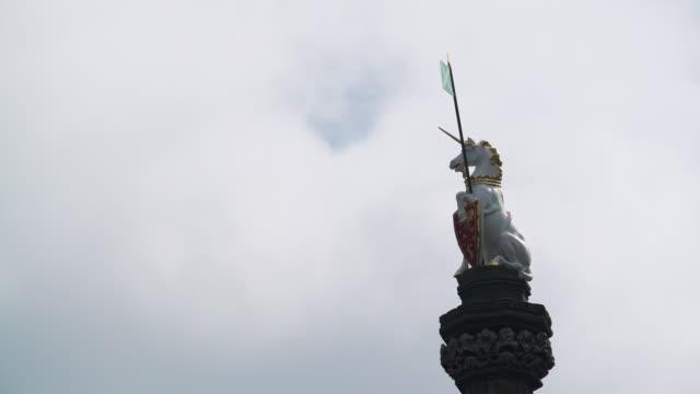 royal unicorn on mercat cross in edinburgh - old town stock videos & royalty-free footage