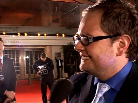 red carpet arrivals Alan Carr speaking to press on red carpet / Alan Carr speaking to press and interview SOT On Comedy Awards pleased to be...