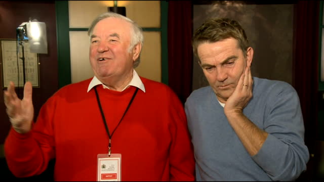 performer interviews england london int jimmy tarbuck and bradley walsh 'larking about' ahead of interview/ jimmy tarbuck and bradley walsh joint... - jimmy tarbuck stock videos & royalty-free footage