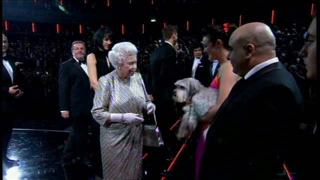 royal variety performance 2012: queen and prince philip meet performers; england: london: royal albert hall: int **flashlight photography... - royal albert hall点の映像素材/bロール