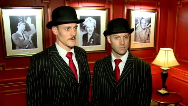 vídeos de stock, filmes e b-roll de artist interviews the english gents interview sot - variety