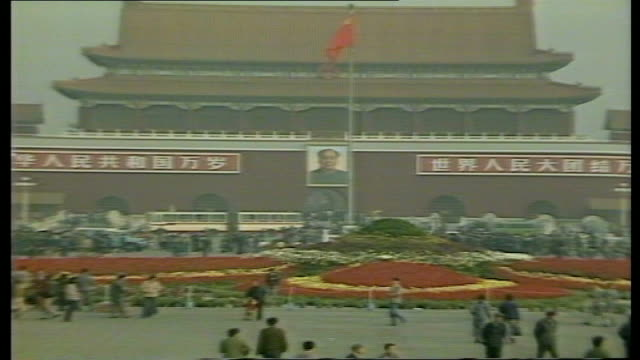 day 2 tiananmen square preparations itn china beijing ext sunrise flags flying in tiananmen square square being cleaned soldiers limbering up people... - tiananmen square stock videos & royalty-free footage