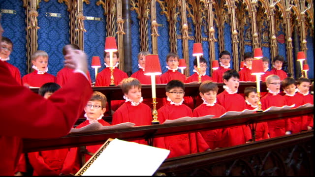Choir prepares for the big day ENGLAND London Westminster Abbey INT Boys of Westminster Abbey choir rehearsing for their role in the Royal Wedding of...