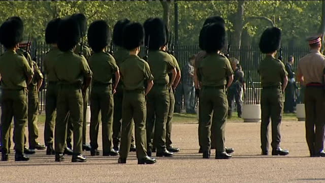 Royal Wedding Coldstream Guards band rehearse and Scots Guards drill Members of the Scots Guards drilling in preparation for their role in the...