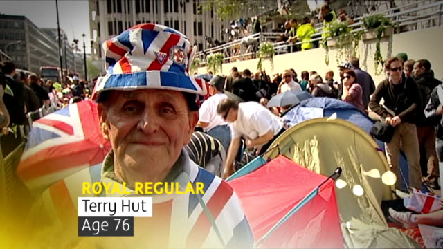 crowds camp outside westminster abbey royal fan with graphic overlaid 'royal regular terry hut age 76' terry hut interview sot on why he camps out on... - hut stock videos and b-roll footage