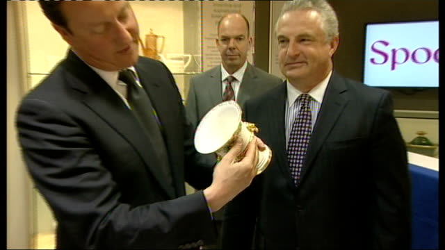 david cameron visits portmeirion potteries wales int david cameron mp along with representatives of the portmeirion group company / cameron looking... - souvenir stock videos and b-roll footage