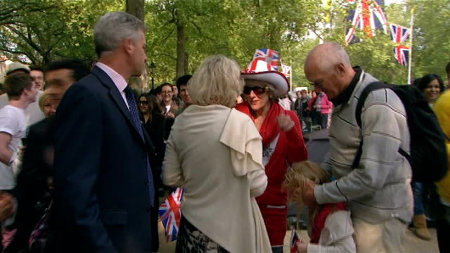 final preparations for wedding camilla at canada gate england london the mall throughout** gvs camilla duchess of cornwall meeting people near canada... - wrap dress stock videos and b-roll footage