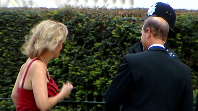 final preparations for wedding; sophie, countess of wessex, and prince edward arriving for a pre-wedding dinner hosted by the queen prince andrew... - prince edward, earl of wessex stock videos & royalty-free footage