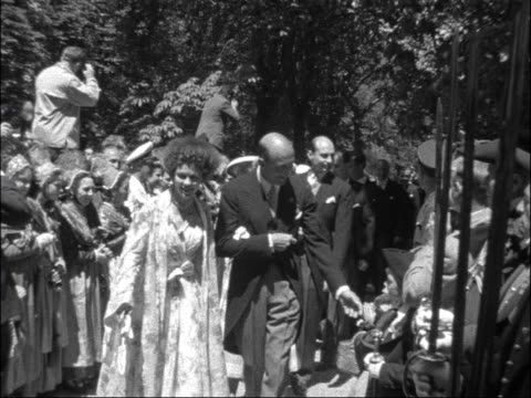 royal wedding; germany: baden: salem castle: int scu princess margarita and prince tomislav of yugoslavia with clergy ditto, shaking hands with... - greece stock videos & royalty-free footage