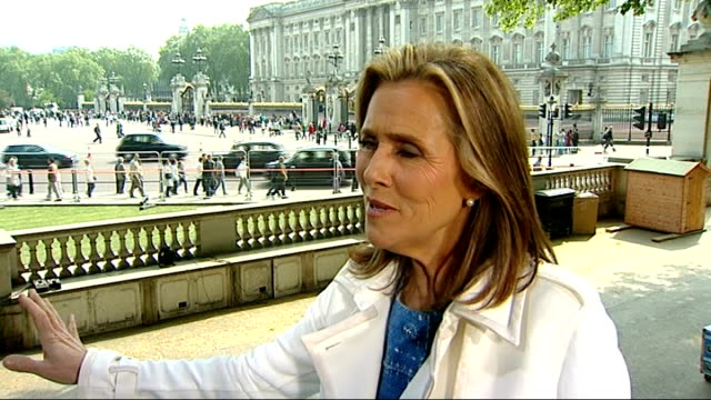 international media interest; meredith vieira interview sot - on popularity of royal wedding media village of television trucks and equipment spread... - meredith vieira stock videos & royalty-free footage