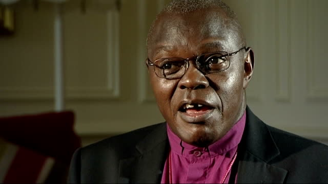 john sentamu interview; england: yorkshire: york: int sentamu interview sot - and prince william tall and the eligible young bachelor at last is... - 独身男性点の映像素材/bロール