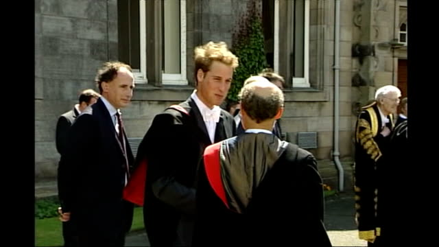 life after the wedding; r23060522 scotland: fife: st andrews: st andrews university: prince william and kate middleton, wearing graduation robes, on... - st. andrews scotland stock videos & royalty-free footage